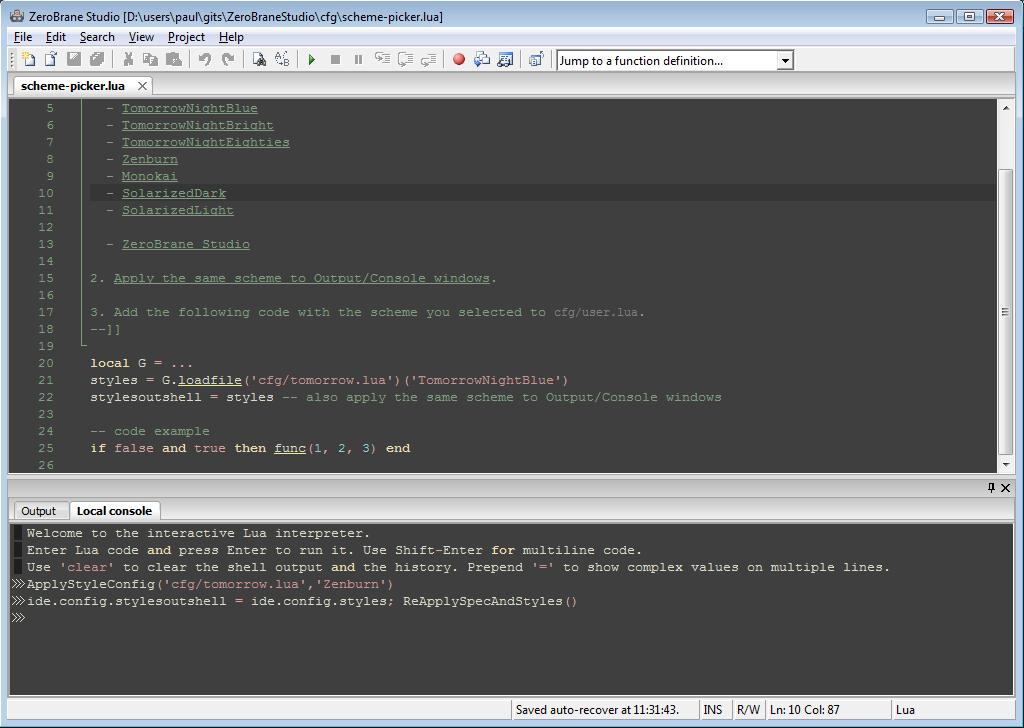 Features - ZeroBrane Studio - Lua IDE/editor/debugger for Windows