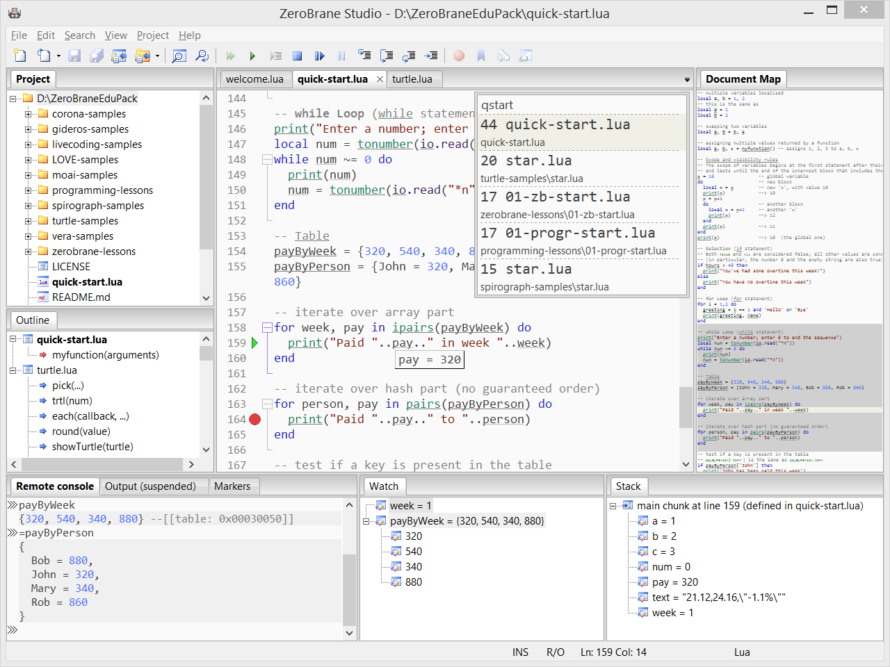 Features - ZeroBrane Studio for Vera/MCV devices - Lua IDE